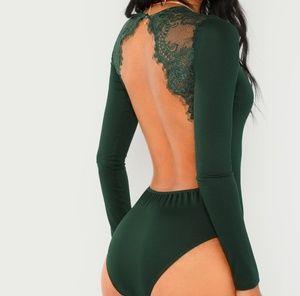 Lace contrast backless skinny bodysuit